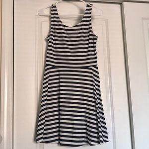Navy and white stripped flowy dress